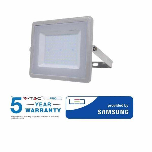 luci a led v tac pro proiettore led smd 100w 8000 lumen ultrasottile chip samsung ip65 grigio vt 100 sku 472 473 474