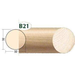 Drveni okrugli štap fi32mm x 2m B-21